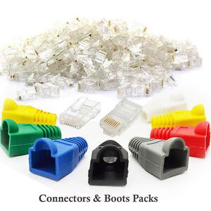 RJ45-Cat5e-Cat6-Network-LAN-Ethernet-Patch-Cable-Plug-End-Connectors-amp-Boots-Lot