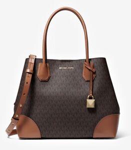 Details about Michael Kors Bag Handbag Mercer Gallery Md Center Zip Tote Bag Braun New