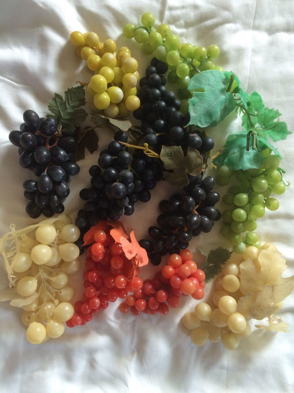 Lote enorme Artificial Decorativo falso Frutas 11 racimos de uva caucho plástico bx34