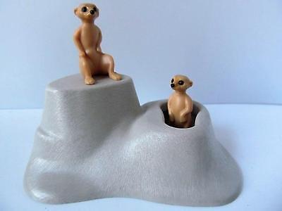 Playmobil zoo/Safari animals: 2 Meerkats with grey rock cave/scenery NEW