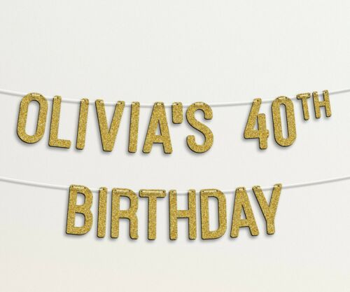Personalised 40th Birthday Custom Banner FORTY Golden Glitter #30