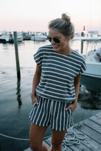 US Womens Striped Strappy Summer Beach Ladies Short Pants Jumpsuit Playsuit 2-12