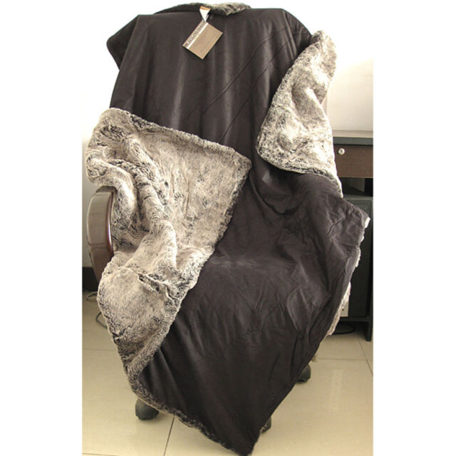 "Warm Comfortable Reversible Plush Faux Fur Throw Suede Blankets 50"" x 60"""