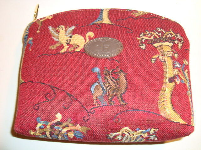 French small bag by  famous company Pansu, Paris France with Medieval Tapestry