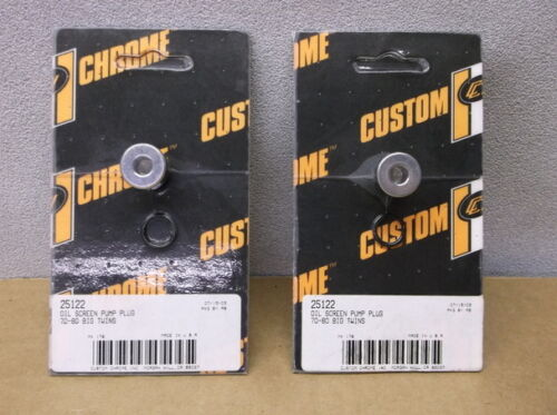 """Two Chrome Tappet Screen Plugs for 1970-1980 Harley Big Twin Oil Pumps by /""""CCI/"""""""
