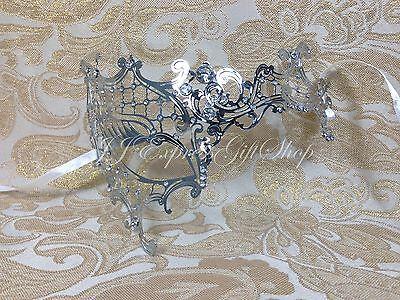 Silver Phantom Filigree Laser Cut Half Venetian Masquerade Halloween Mask