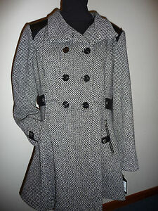 Guess Tweed Coat Womens Black Faux Leather Mid Length Swing Jacket ...