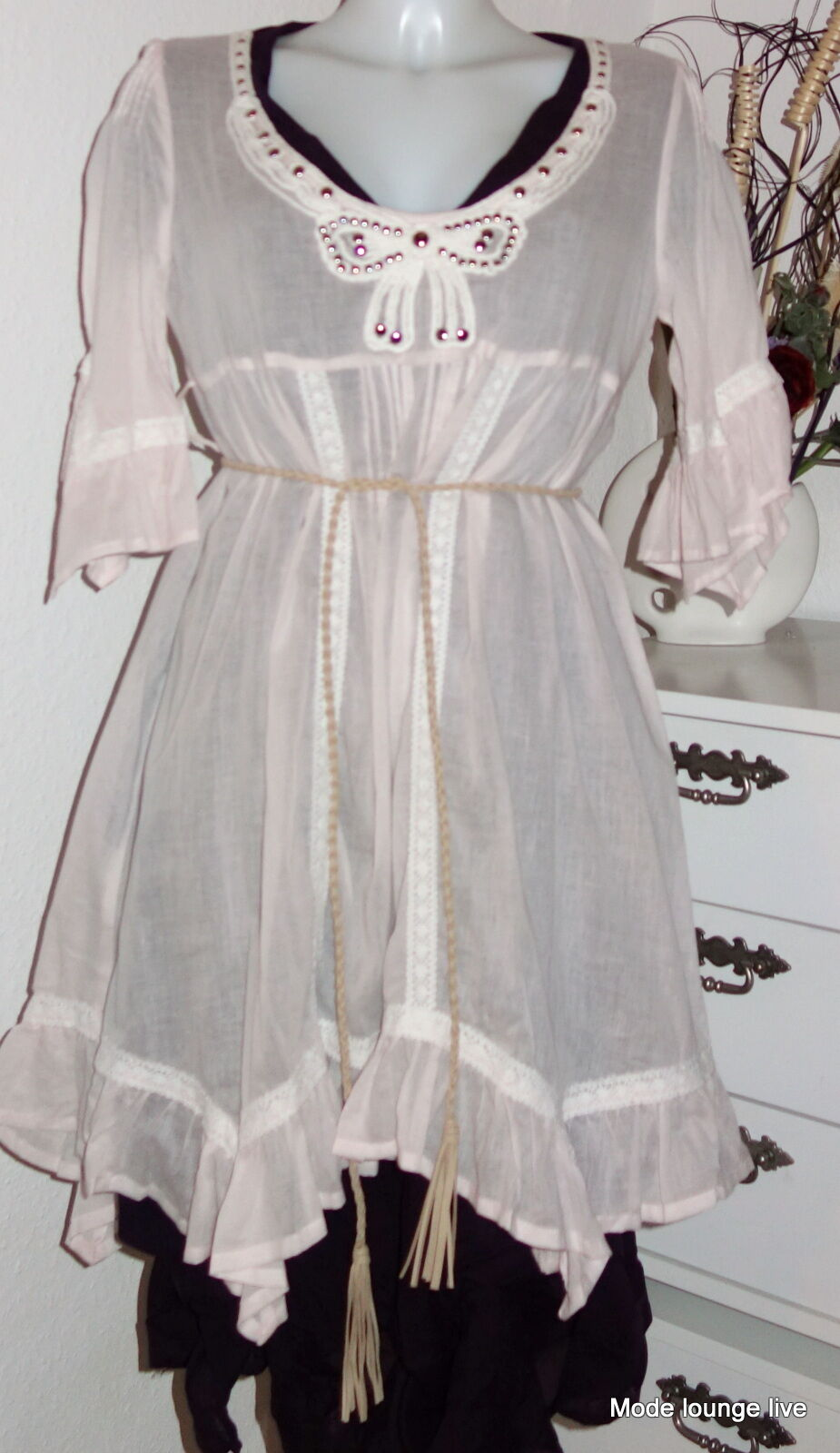 Ester Elenora Tunika Zipfel-Kleid kajsa Ballon dress Rosa pudrig Rosa 36 38 40