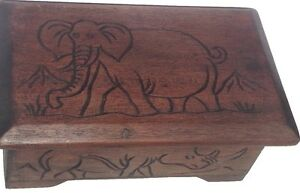 Wooden Handmade Carved Jewelry Box African Safari Animals eBay
