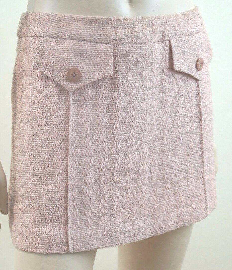 MATTHEW WILLIAMSON Women's Pink Textured Cotton   Wool Lined Mix Mini Skirt UK12