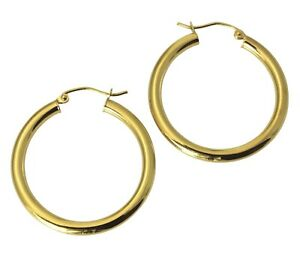 14K Yellow Gold 3mm Thickness Multifaceted Polished Oval Hoop Huggies Earrings