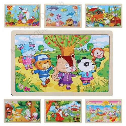 24 Pieces Wooden Animals Colorful Jigsaw Puzzle Educational Toy Gift for Child