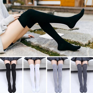 Women-Cable-Knit-Long-Stripe-Socks-Over-Knee-Thigh-High-School-Girl-Stocking-New