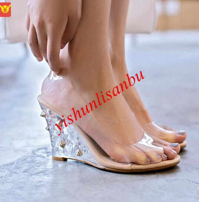Wedge Heel Open Toe Women Shoes Breathable Clear Slip On Slingback Transparent