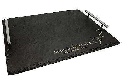 Personalised Large Slate Serving Tray with Chrome Handles, Any Message Engraved