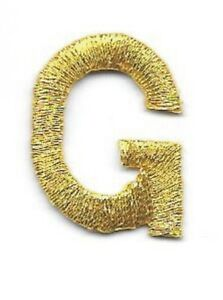 """1/"""" Tall Bright Metallic Gold Monogram Block Letter S Embroidery Patch"""