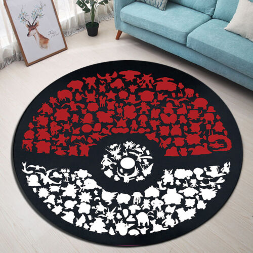 Non-Slip Bathroom Area Rug Pokemon Room Home Bedroom Carpet Round Floor Mat
