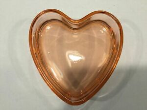 """U.S. Glass pink 6"""" Heart shaped candy dish with lid"""