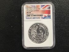 Flag Label 2017 Great Britain 2oz Silver Queens Beast Dragon NGC MS70