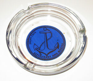 "Vintage SHIPS CAFE RESTAURANT & MARINA 4.5"" Round Glass ASHTRAY - OCEAN CITY, MD"
