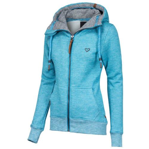 ALIFE AND KICKIN Damen Sweatjacke Pullover Schalkragen Melange-Optik Sweater