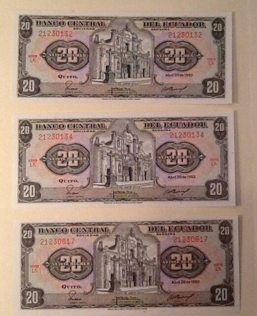 1983, 20 Sucres Ecuador UNC Lot of 3 UNC High Grade Very High Value Banknotes
