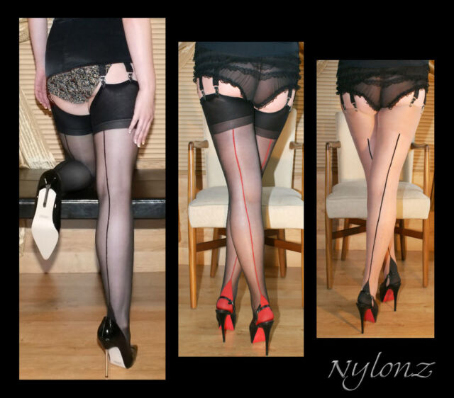 3 pairs Luxury Seamed Nylon Stockings MIXED COLOUR PACK