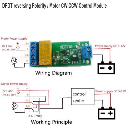 DC5V-12V DPDT Control Reverse Polarity Relay Motor CW CCW MCU Delay Timer Module