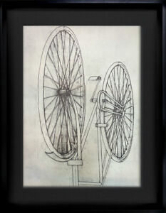 Konrad-KLAPHECK-Lithograph-Ltd-Ed-H-C-Bicyclette-Deckled-Custom-FRAME
