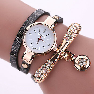 New Women\'s Fashion Ladies Faux Leather Rhinestone Analog Quartz Wrist Watches