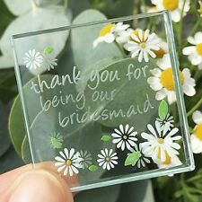 Spaceform Miniature Glass Token Daisies Thank You Bridesmaid Keepsake Gift