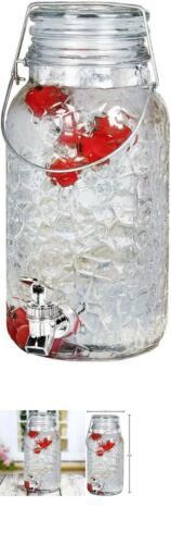 Estilo 1 Gallon Glass Mason Jar Drink Beverage Dispenser With Leak Free Spigot A
