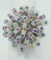 Stunning 18K White Gold Ruby Sapphire Diamond Ribbon Burst Bold Ring 9.5 B735
