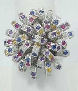 Stunning-18K-White-Gold-Ruby-Sapphire-Diamond-Ribbon-Burst-Bold-Ring-9-5-B735