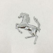 FERRARI EMBLEM Metal Chrome Silver Horse Rear Trunk Fender Badge Sticker