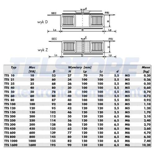 1pcs  Trasformatore toroidale 100VA 230VAC 19V 5,26A 1,1kg Ø 92mm TELSTORE