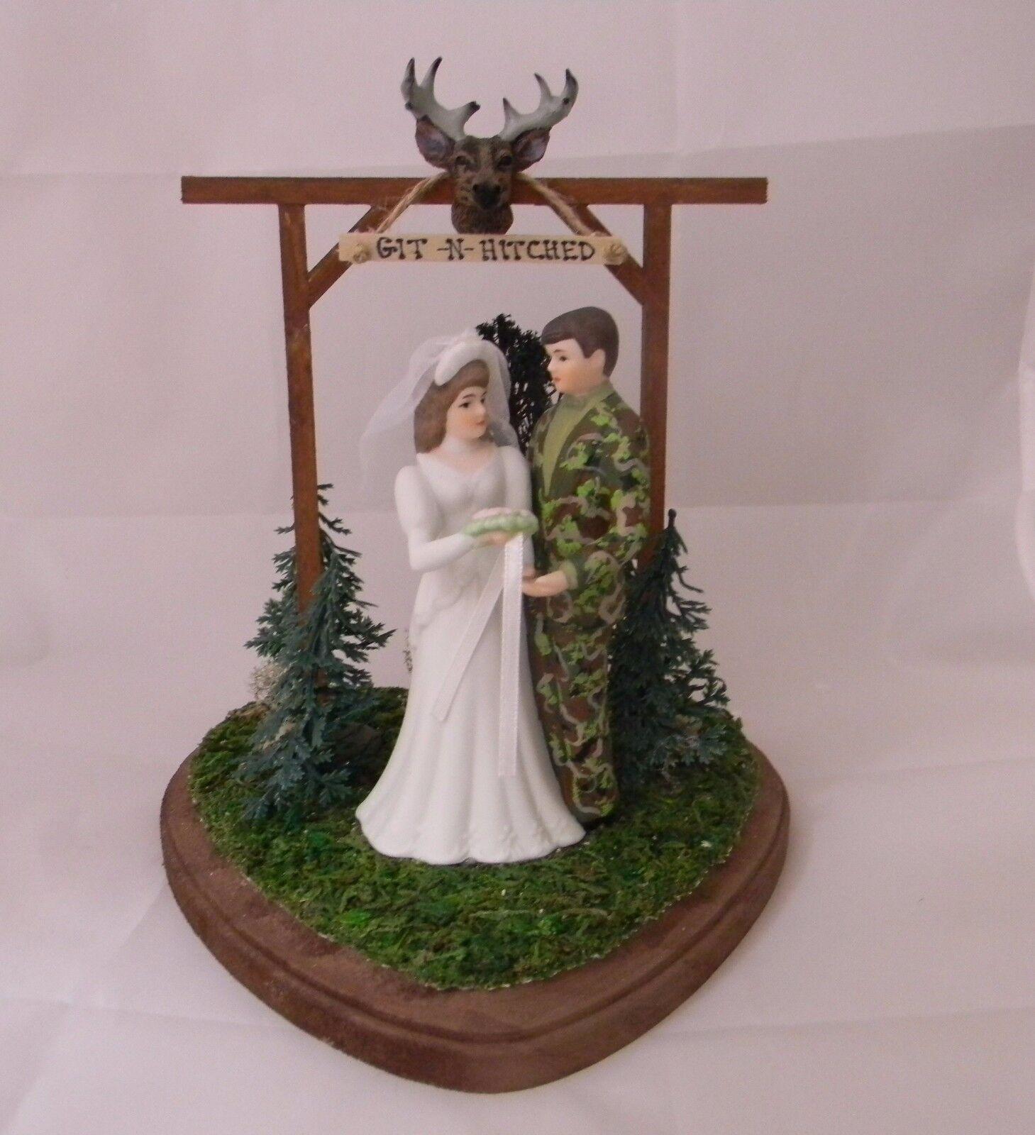 Mariage Fête Réception Git N se marier Camo DEER HUNTER HUNTING cake topper