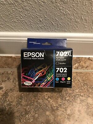 in retail box #2029 4-PACK Epson GENUINE 702XL Black /& 702 Color Ink