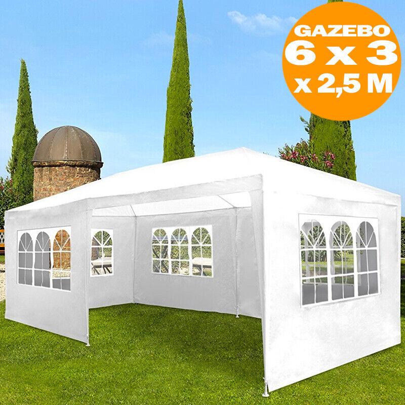 Gazebo 6 x 3 x 2,5 mt 15 Finestre Ad Arco Arrojoo Giardino Party Cerimonia Bianco