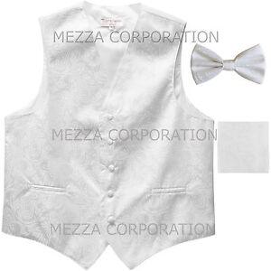 New Vesuvio Napoli Men/'s paisley Tuxedo Vest Waistcoat/_Bowtie /& Hankie Hot Pink