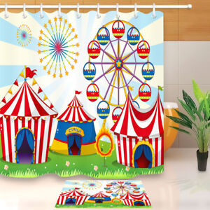 Circus Lawn Carnival Shower Curtain Waterproof Fabric Home