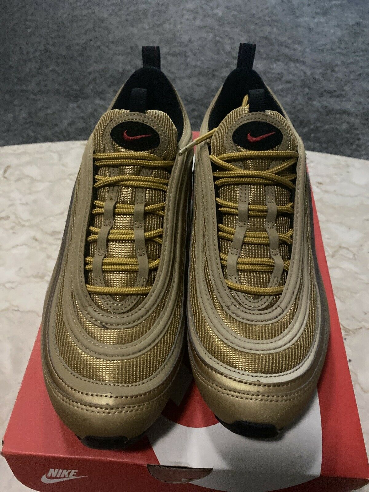 Papá barbilla cuello  Nike Air Max 97 QS Size 12.5 Metallic Silver Black/varsity Red At5458-001  for sale online | eBay