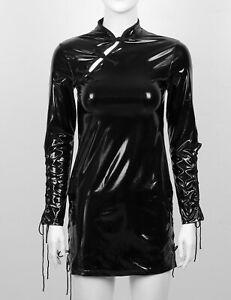 Women-039-s-Wet-Look-Leather-Lace-up-Mini-Dress-Bodycon-Cheongsam-Cocktail-Clubwear