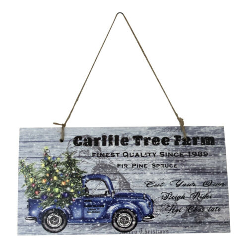 Personalized Blue Truck Christmas Tree Sign Printed Wood Sign