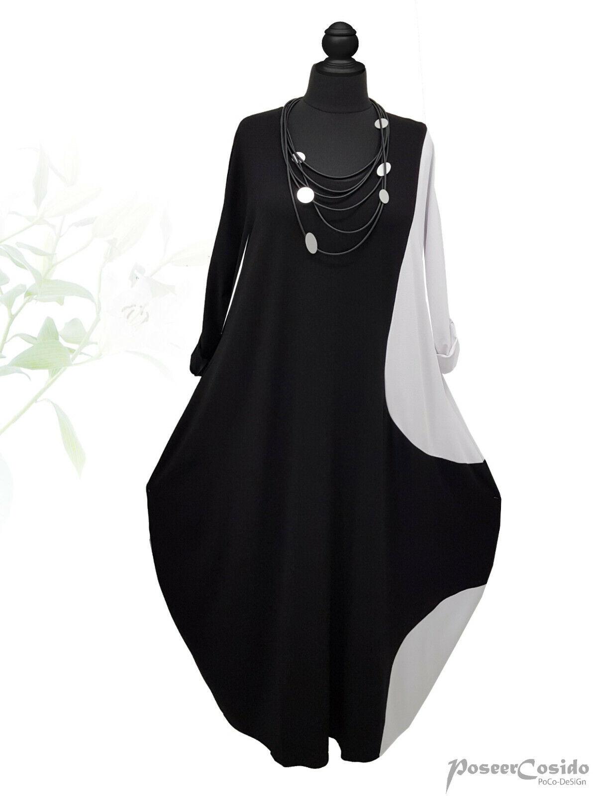 PoCo LAGENLOOK Ballon-Kleid 44 46 48 50 52 54 56 58 L-XL-XXL-XXXL schwarz weiß