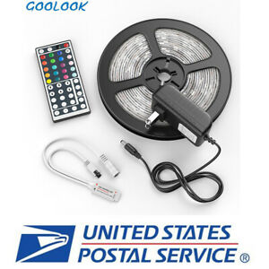 5M-LED-Strip-Light-SMD-5050-RGB-44-Key-Remote-Include-Battery-Power-Adapter-NEW