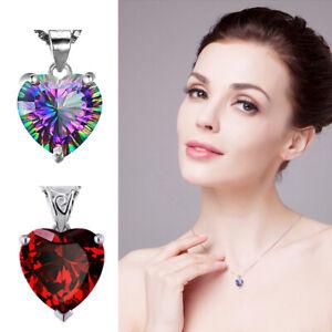 Mystic-Rainbow-Topaz-Red-Garnet-Heart-Pendant-Necklace-925-Silver-Chain-Jewelry