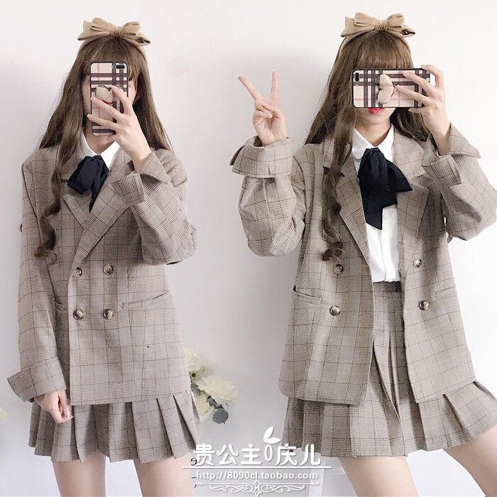 Sweet Lolita Preppy style JK Uniform Plaid Long Sleeve Coat+Skirt Suit 2pcs