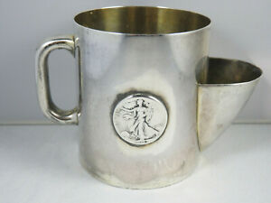 Antique Tiffany & Co Makers Sterling Silver Shaving Mug w/ 1943 Standing Liberty