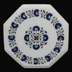Lapis-Lazuli-Inlay-Art-Marble-Coffee-Table-Top-White-Bed-End-Table-12-Inches